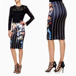 Clover Canyon Floral Neoprene Midi Stripe Skirt
